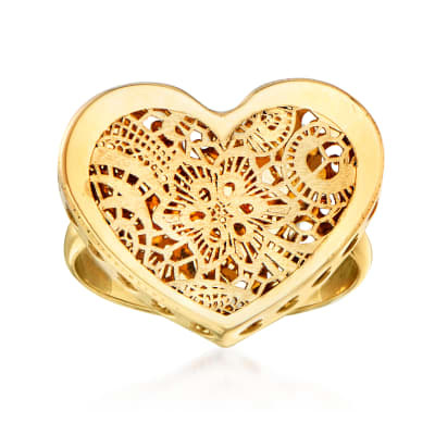 Italian 14kt Yellow Gold Cut-Out Floral Heart-Shaped Ring