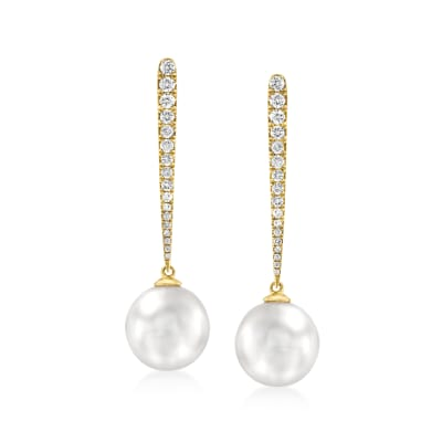 10-11mm Cultured South Sea Pearl and .43 ct. t.w. Diamond Drop Earrings in 18kt Yellow Gold