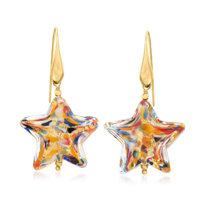 Italian Murano Glass Multicolored Star Drop Earrings with 18kt Gold Over Sterling