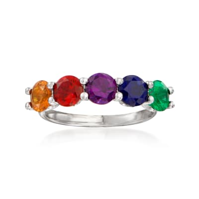 2.00 ct. t.w. Multicolored CZ Five-Stone Ring in Sterling Silver