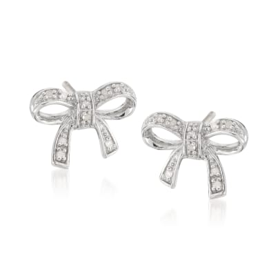 Sterling Silver Bow Earrings with Diamond Accents