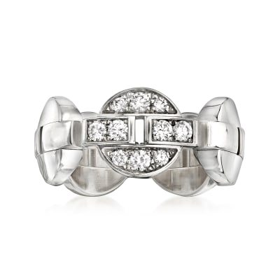 C. 1990 Vintage Cartier .30 ct. t.w. Diamond Link Ring in 18kt White Gold