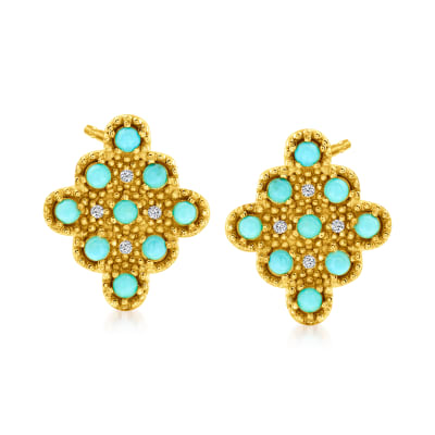 Turquoise Marquise-Shaped Cluster Earrings with White Topaz Accents in 18kt Gold Over Sterling