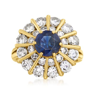 C. 1980 Vintage 1.50 Carat Sapphire and 3.00 ct. t.w. Diamond Cocktail Ring in 18kt Yellow Gold