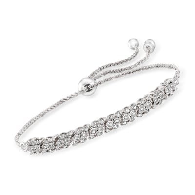 .50 ct. t.w. Diamond Bolo Bracelet in Sterling Silver