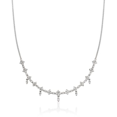 C. 1990 Vintage 1.40 ct. t.w. Diamond Necklace in 14kt White Gold