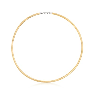 Italian 4mm Reversible Omega Necklace in Sterling Silver and 18kt Gold Over Sterling