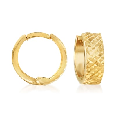 18kt Yellow Gold Quilted Huggie Hoop Earrings