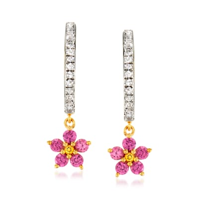 .40 ct. t.w. Rhodolite Garnet and .10 ct. t.w. White Topaz Flower Hoop Drop Earrings with Citrine Accents in 18kt Gold Over Sterling