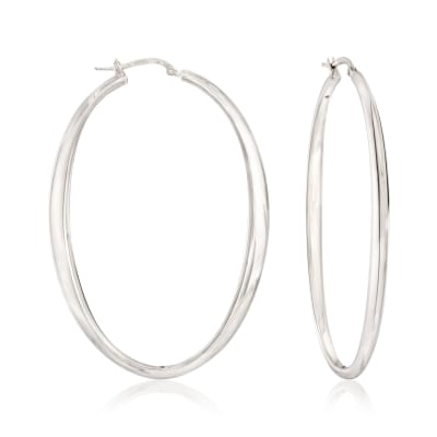 Italian Sterling Silver Oval Hoop Earrings