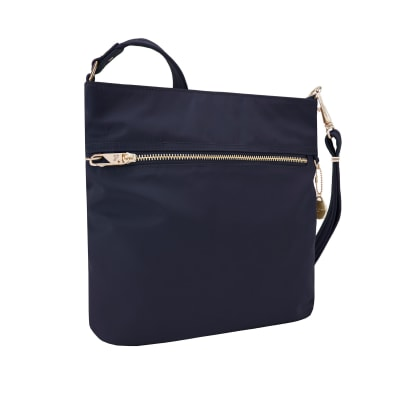 "Travelon ""Anti-Theft Tailored"" Sapphire-Blue Nylon Twill North/South Slim Bag"