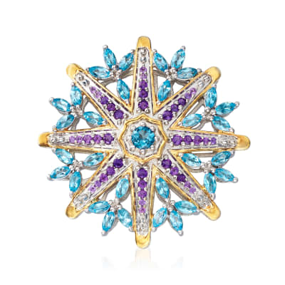 5.50 ct. t.w. Blue Topaz and 1.00 ct. t.w. Amethyst Wheel Pin in Sterling Silver and 18kt Gold Over Sterling