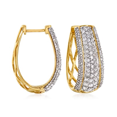 1.50 ct. t.w. Diamond Oval Hoop Earrings in 14kt Yellow Gold