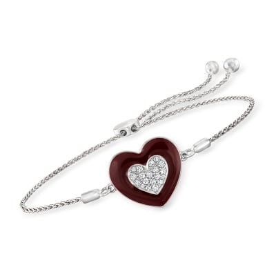 .20 ct. t.w. Diamond Heart Bolo Bracelet with Dark Red Enamel in Sterling Silver