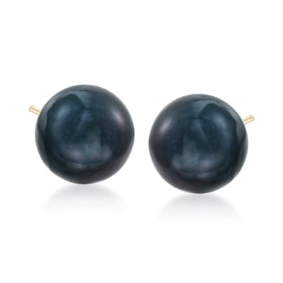 10-11mm Black Peacock Cultured Pearl Stud Earrings in 14kt Yellow Gold