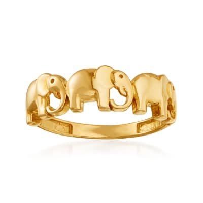 14kt Yellow Gold Multi-Elephant Ring