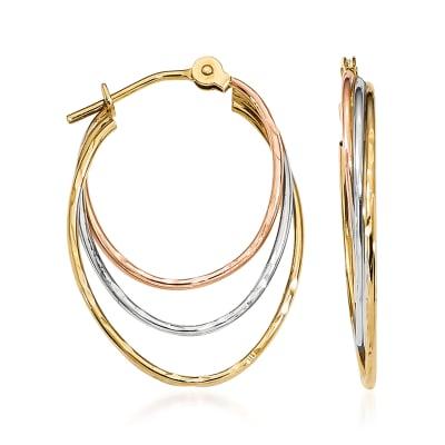 14kt Tri-Colored Gold Triple-Hoop Earrings