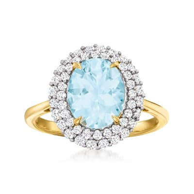 2.00 Carat Aquamarine and .61 ct. t.w. Diamond Ring in 14kt Yellow Gold