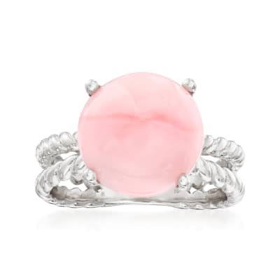 12mm Pink Opal Rope Double-Shank Ring in Sterling Silver