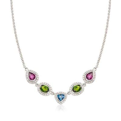 5.00 ct. t.w. Multi-Stone Necklace in Sterling Silver