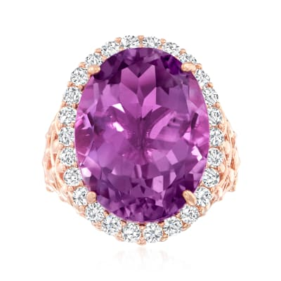 20.00 Carat Amethyst and 1.50 ct. t.w. White Zircon Ring in 18kt Rose Gold Over Sterling