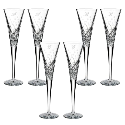 """Waterford Crystal """"Wishes Happy Celebrations"""" Set of 2 Script Initial Toasting Flutes from Italy"""