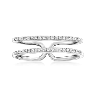 .10 ct. t.w. Diamond Double-Row Open-Space Ring in Sterling Silver