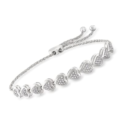.50 ct. t.w. Diamond Heart Bolo Bracelet in Sterling Silver