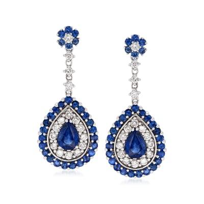 3.90 ct. t.w. Sapphire and .90 ct. t.w. Diamond Teardrop Earrings in 14kt White Gold