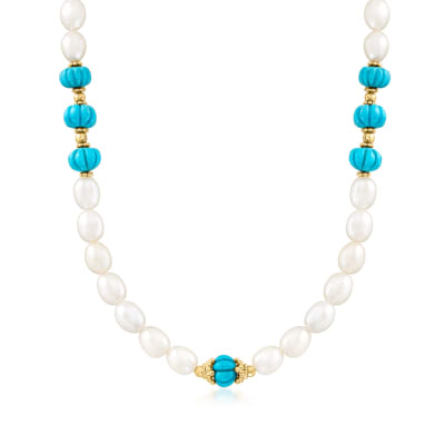9-10mm Cultured Pearl and Turquoise Necklace with 18kt Gold Over Sterling