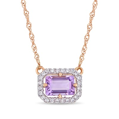 .40 Carat Amethyst and Diamond-Accented Necklace in 14kt Two-Tone Gold