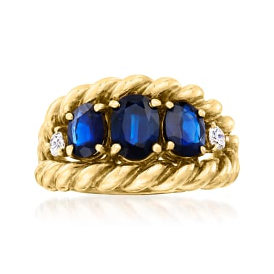 C. 1960 Vintage 2.15 ct. t.w. Sapphire and .15 ct. t.w. Diamond Rope-Edged Ring in 14kt Yellow Gold