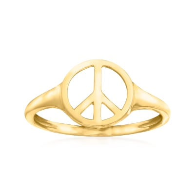 14kt Yellow Gold Peace Sign Ring