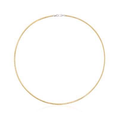 Italian 2mm Reversible Omega Necklace in Sterling Silver and 18kt Gold Over Sterling