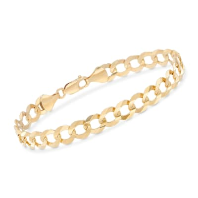 Men's 8.2mm 14kt Yellow Gold Faceted Curb-Link Chain Bracelet