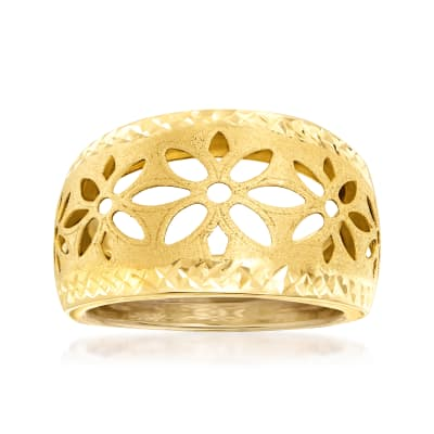Italian 14kt Yellow Gold Cut-Out Floral Dome Ring