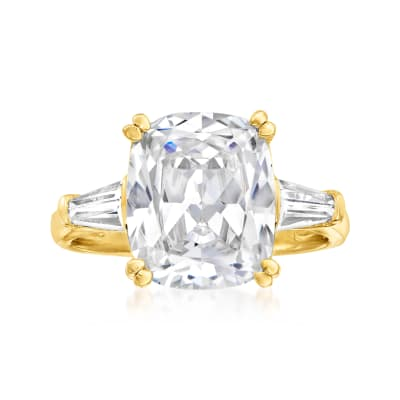 7.00 ct. t.w. CZ Ring in 18kt Gold Over Sterling