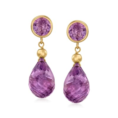 11.00 ct. t.w. Amethyst Drop Earrings in 14kt Yellow Gold