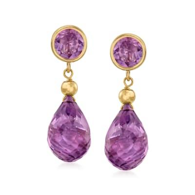 11.00 ct. t.w. Amethyst Drop Earrings in 14kt Yellow Gold