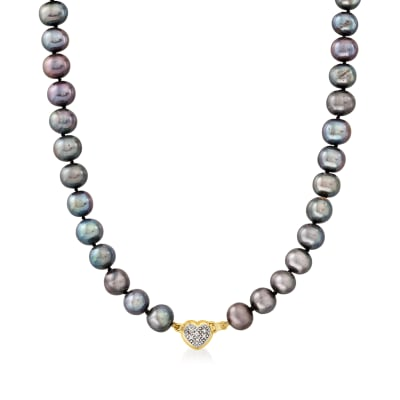 C. 1990 Vintage Black Cultured Pearl Necklace with Diamond-Accented Heart Clasp in 14kt Yellow Gold