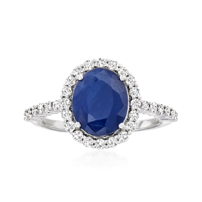 3.30 Carat Sapphire and .56 ct. t.w. Diamond Ring in 14kt White Gold