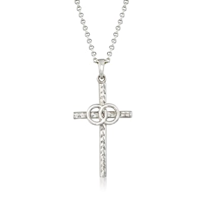 Italian Sterling Silver Marriage Cross Necklace