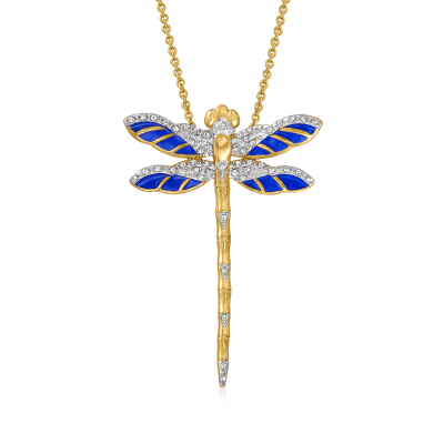 .15 ct. t.w. Diamond and Blue Enamel Dragonfly Pendant Necklace in 18kt Gold Over Sterling