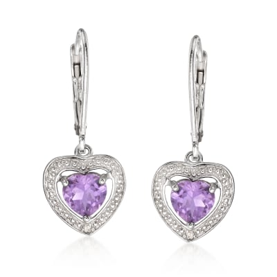 1.10 ct. t.w. Amethyst Heart Drop Earrings with Diamond Accents in Sterling Silver