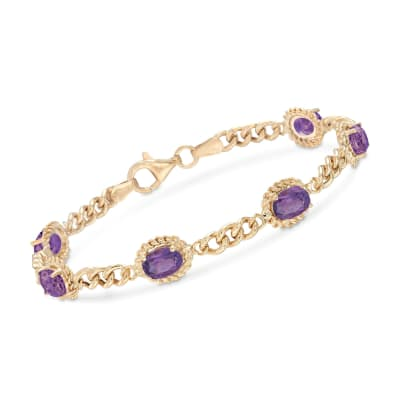 4.40 ct. t.w. Amethyst Link Bracelet in 18kt Gold Over Sterling Silver
