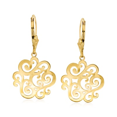 14kt Yellow Gold Openwork Swirl Drop Earrings