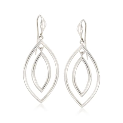"Zina Sterling Silver ""Contemporary"" Double Teardrop Earrings"