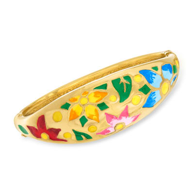 Italian Multicolored Enamel Flower Bangle Bracelet in 18kt Gold Over Sterling