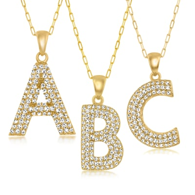 CZ Single-Initial Pendant and Paper Clip Link Necklace in 18kt Gold Over Sterling
