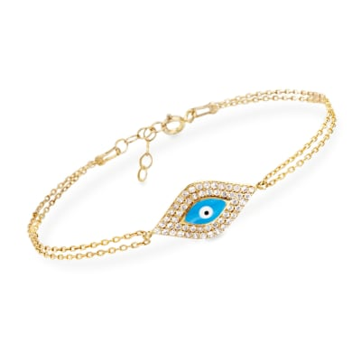 .50 ct. t.w. CZ and Enamel Bracelet in 14kt Gold Over Sterling